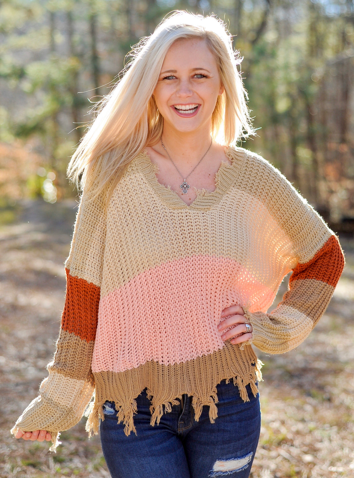 Pink Color Block Distressed Sweater