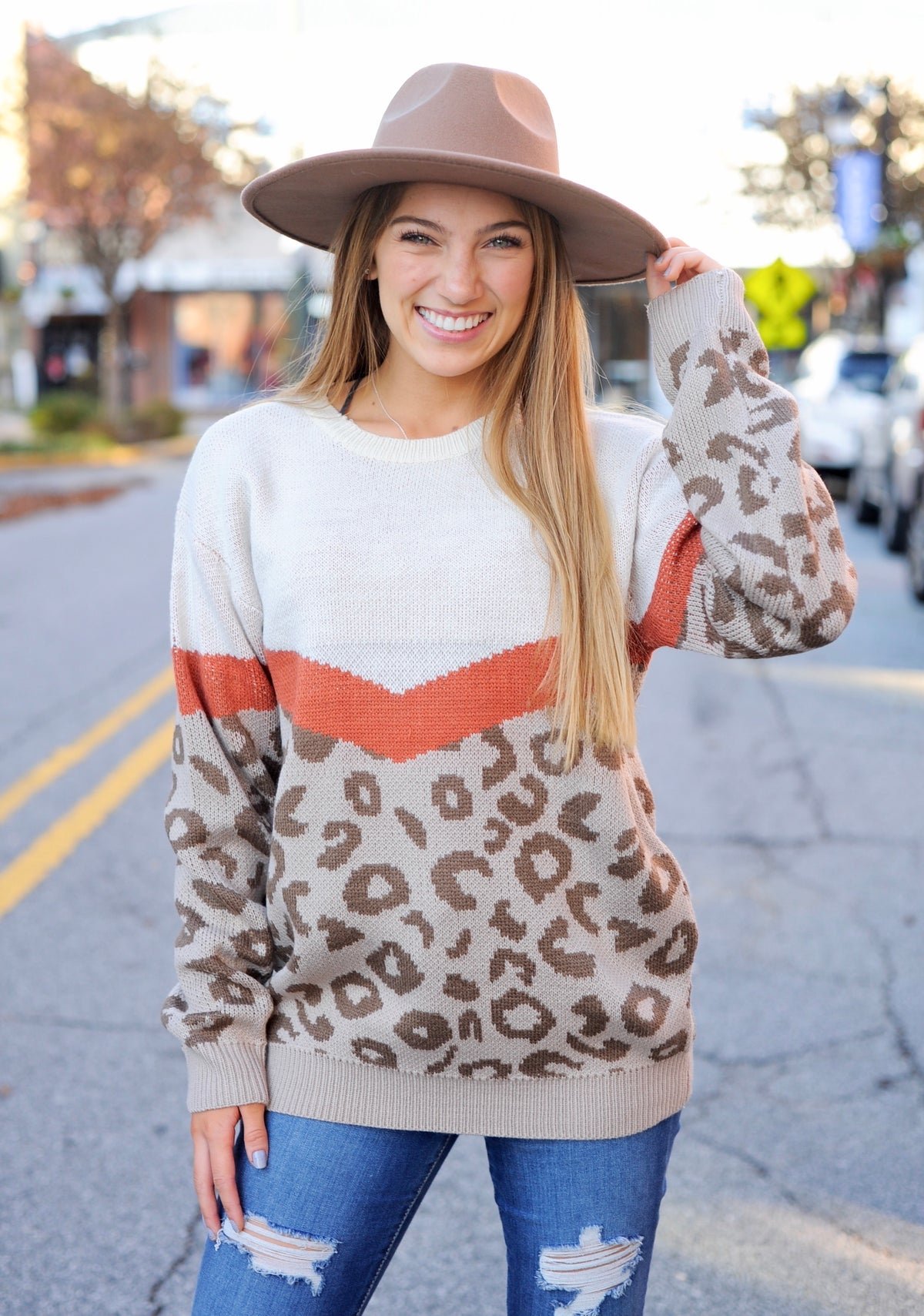 Mocha/Rust Leopard Sweater
