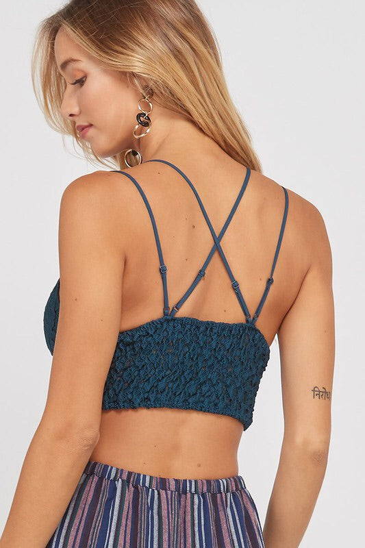 Double Strap Scalloped Lace Bralette - Teal