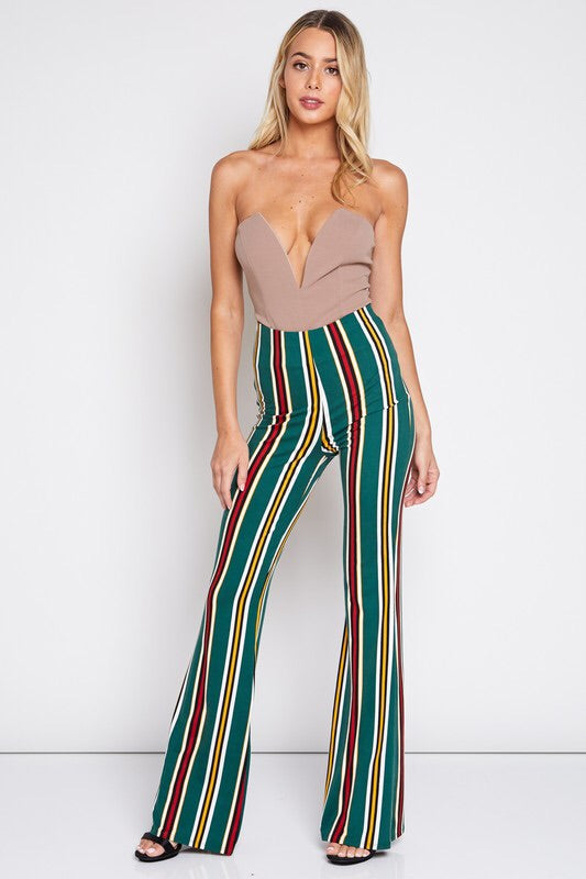 Hunter Green Striped Bell Pants