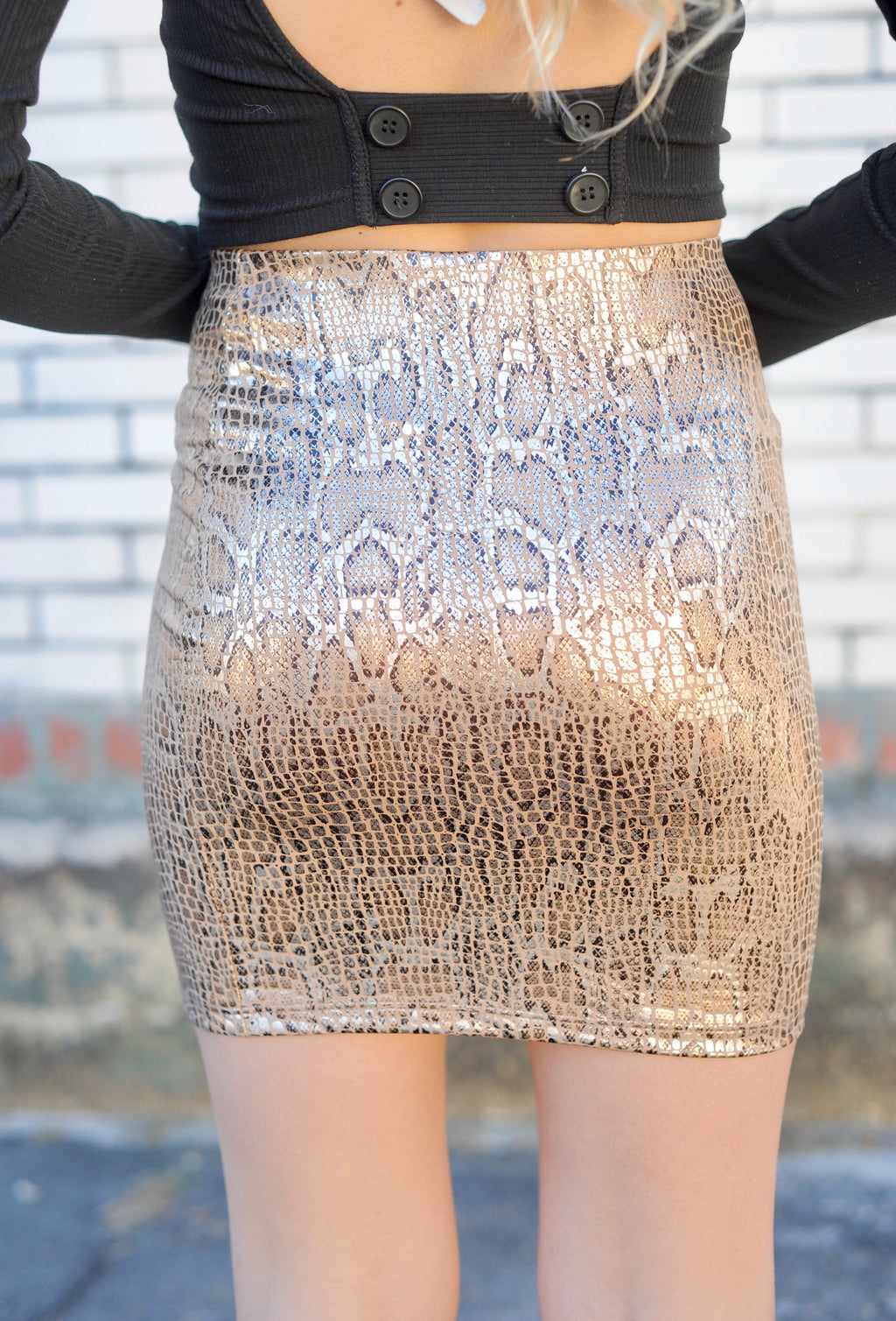 Snakeskin Metallic Skirt