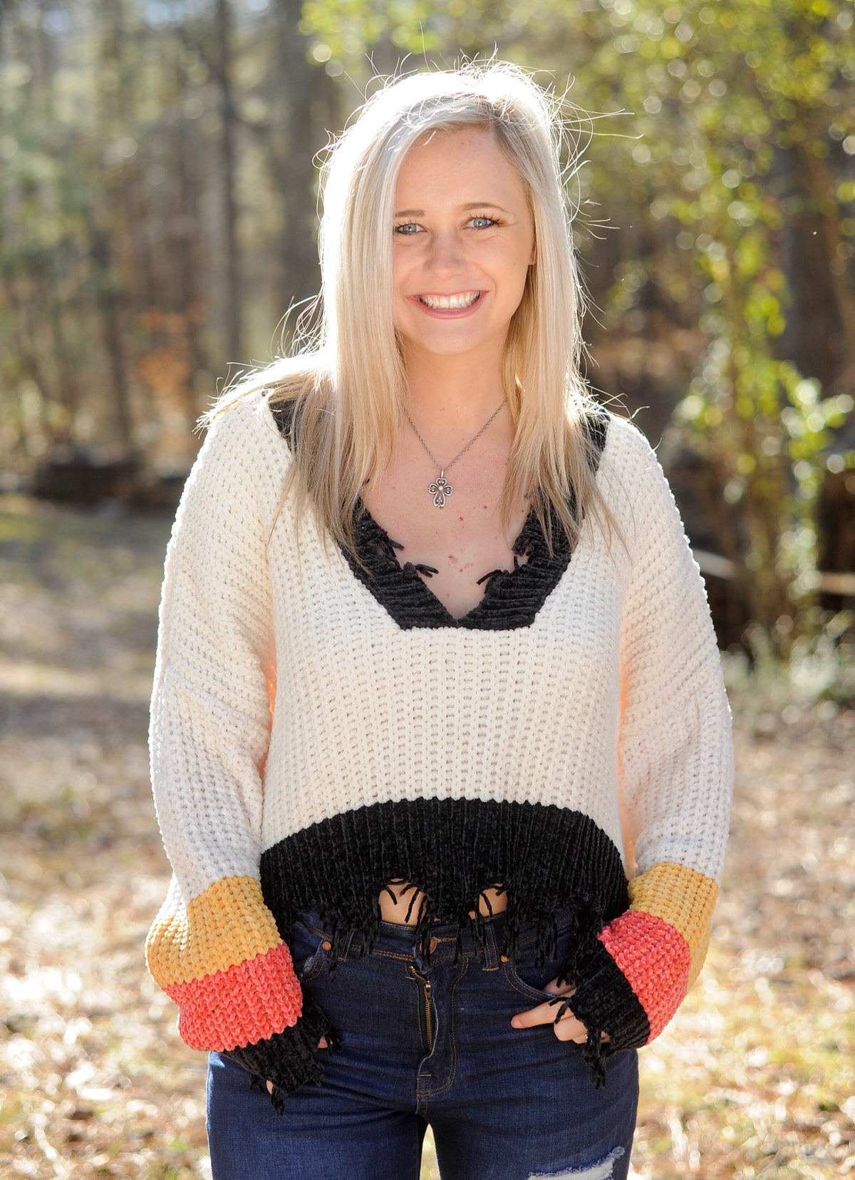 Chenille Color Block Distressed Sweater
