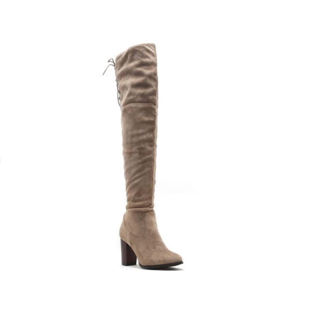 Sueded Tie Back Thigh High Boots