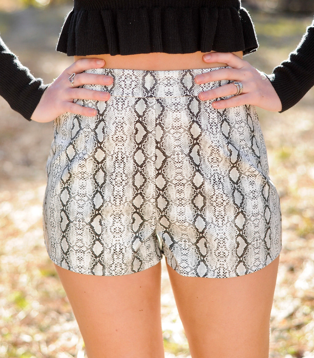 Snakeskin Leather Shorts