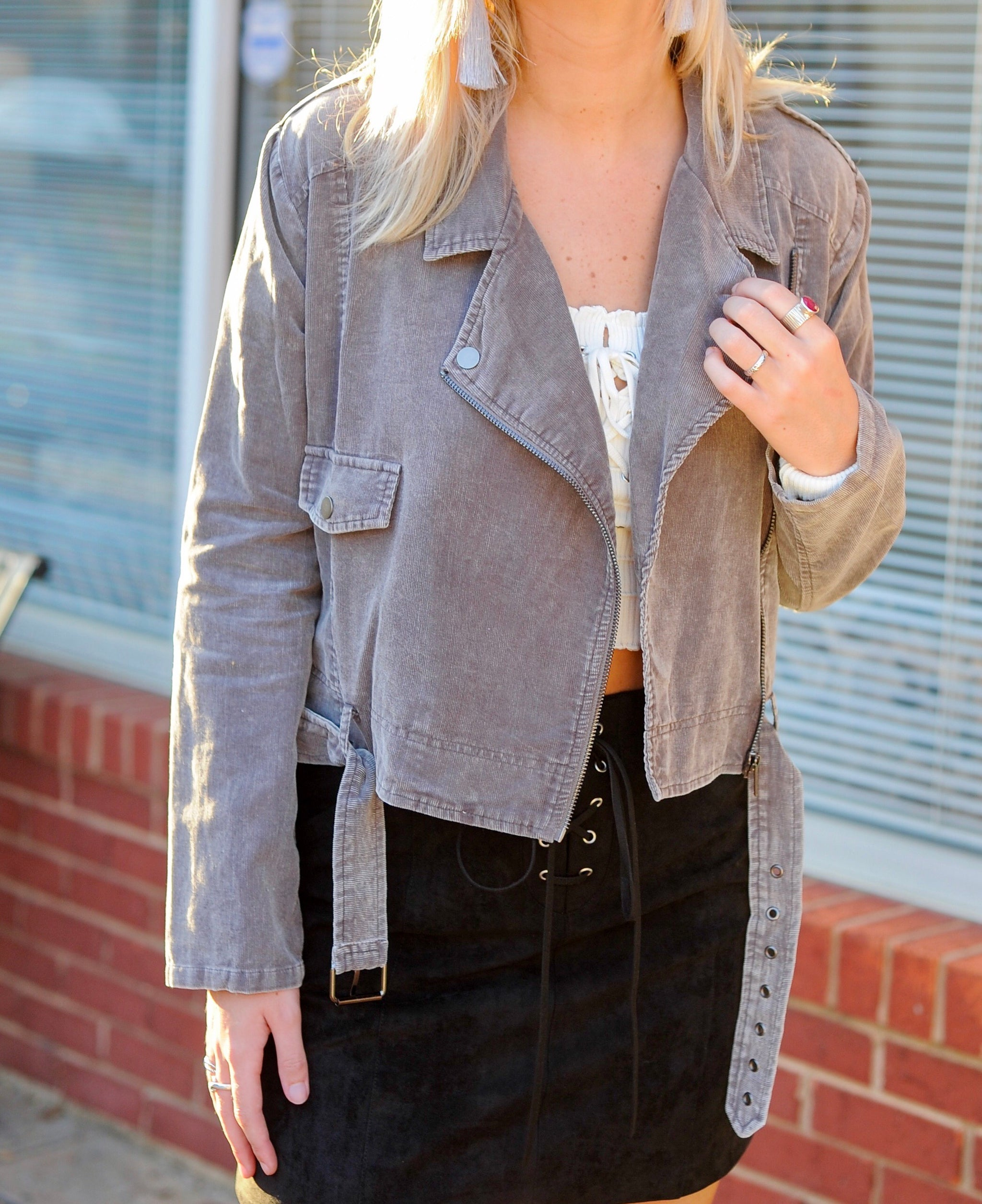 Belted Washed Corduroy Jacket