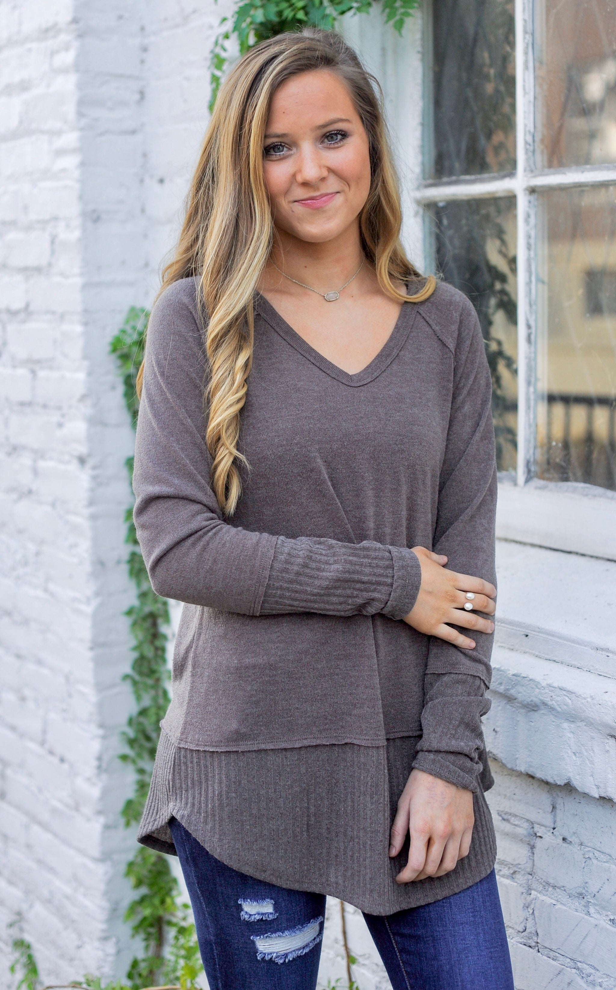 Ribbed Mix Sweater Top