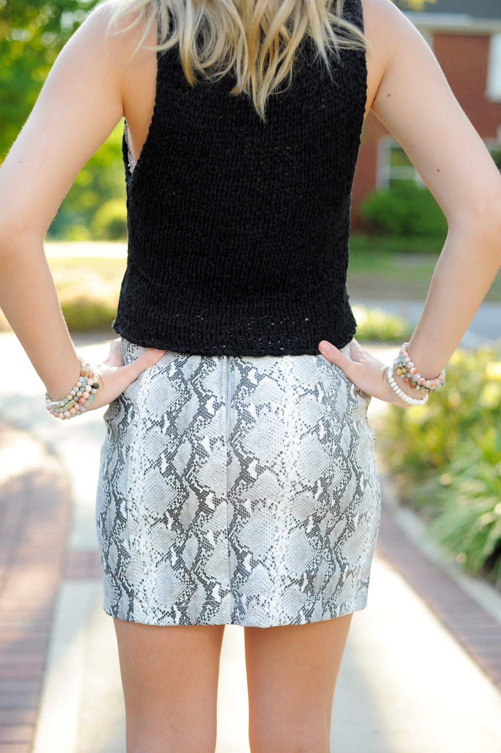 Snakeskin Mini Skirt- Grey