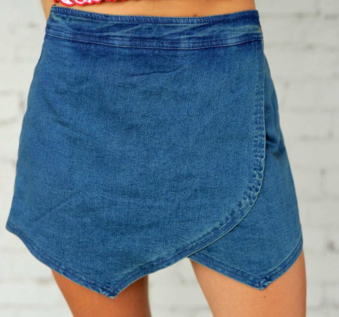 Blue Denim Envelope Skort