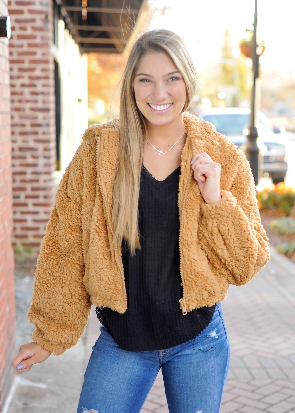 Camel Cropped Teddy Jacket