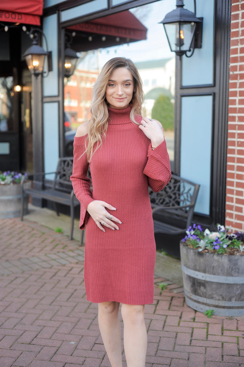 Cold Shoulder Ruffle Sleeve Dress