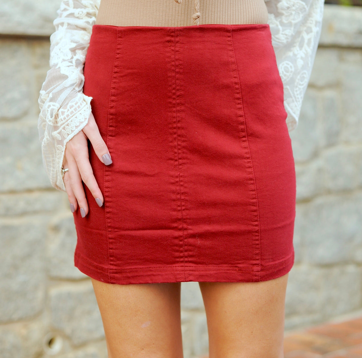 Wine Mini Skirt