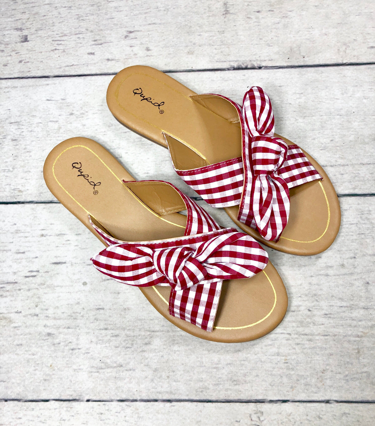 Red Gingham Criss Cross Sandal