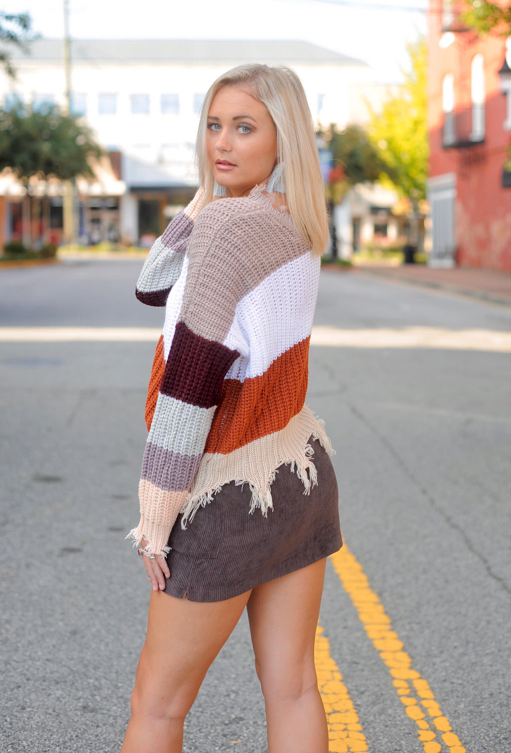 Rust Color Block Distressed Sweater