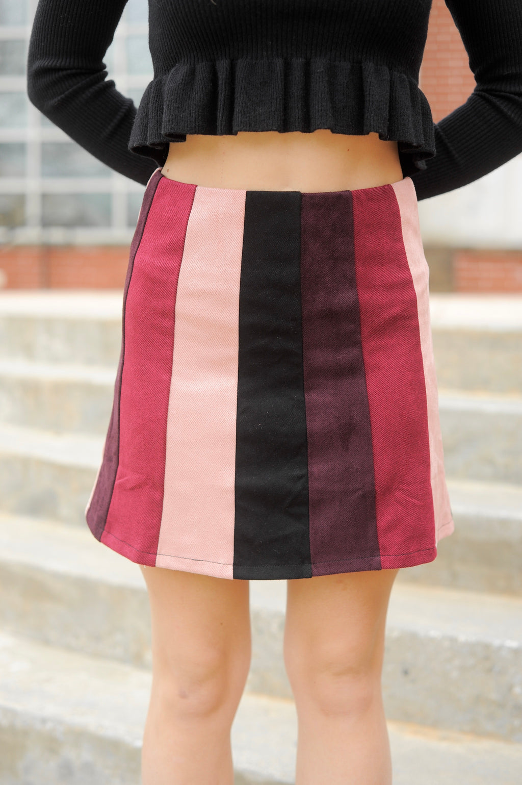 Rose Berry Striped Skirt