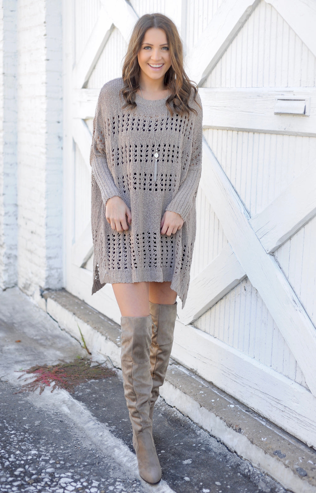 Mocha Poncho Sweater Dress