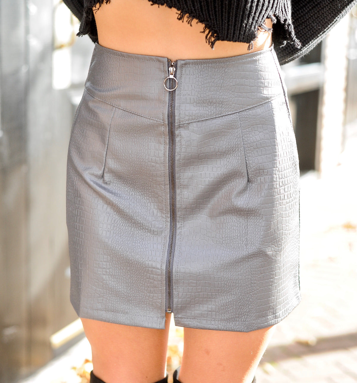 Grey Snakeskin Leather Skirt
