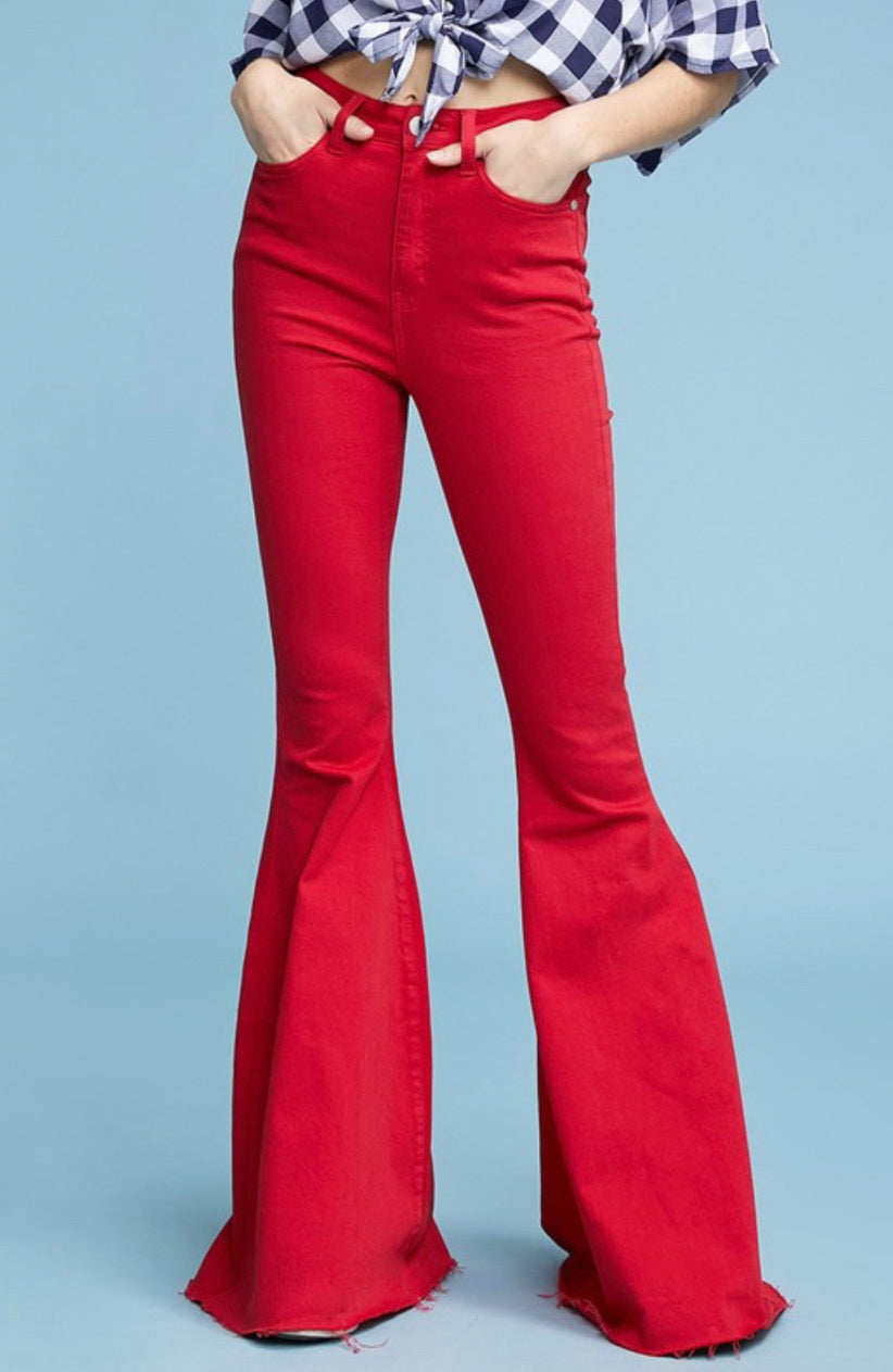 Red Super Flare Jeans