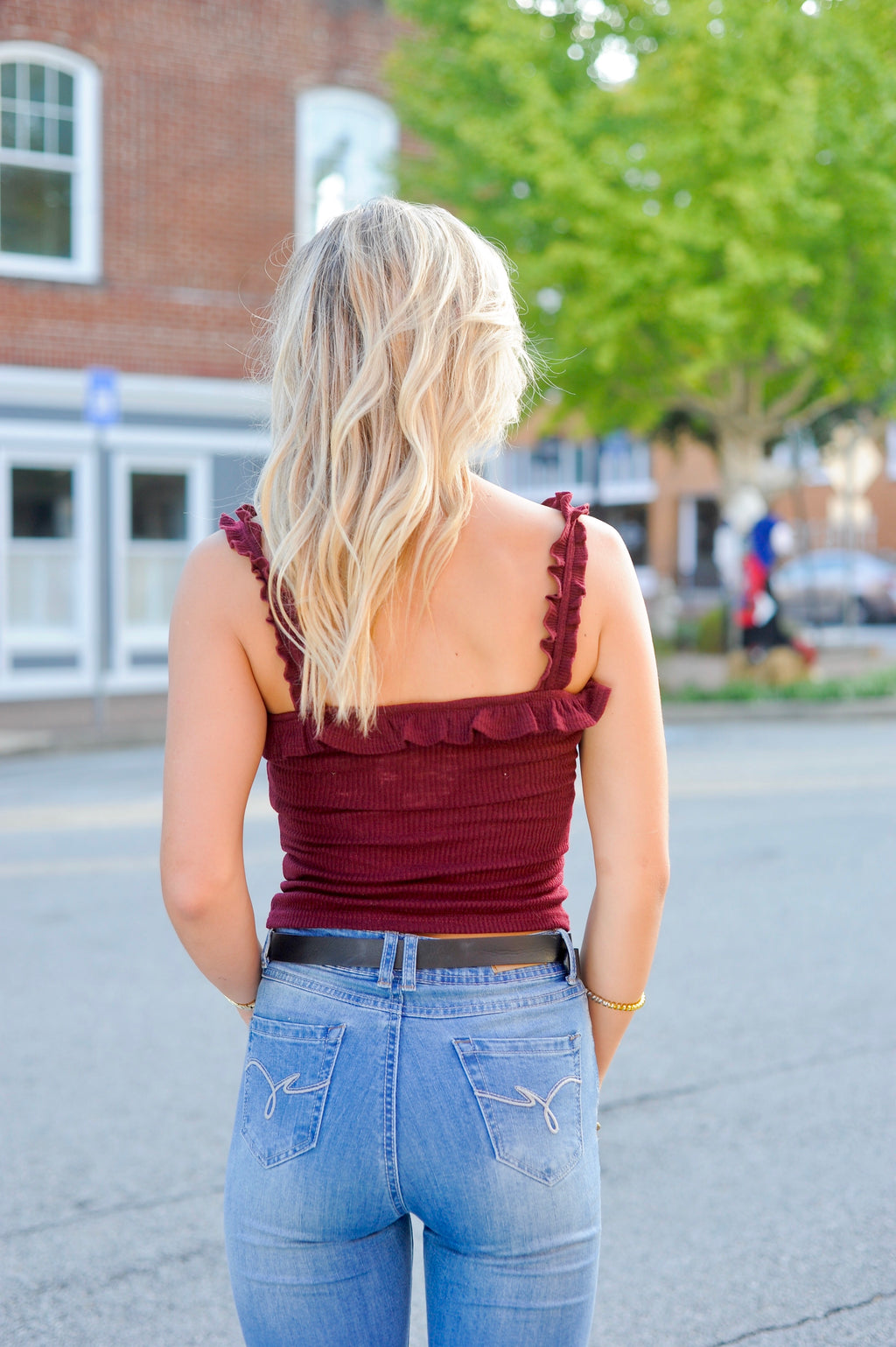 Burgundy Ruffle Tank Top