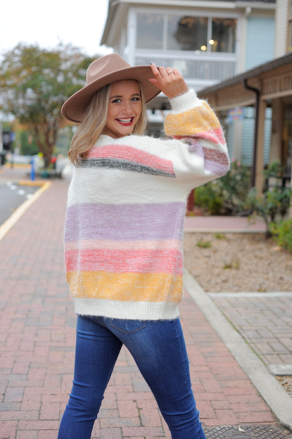 Mohair Multi Stripe Sweater - Lavender