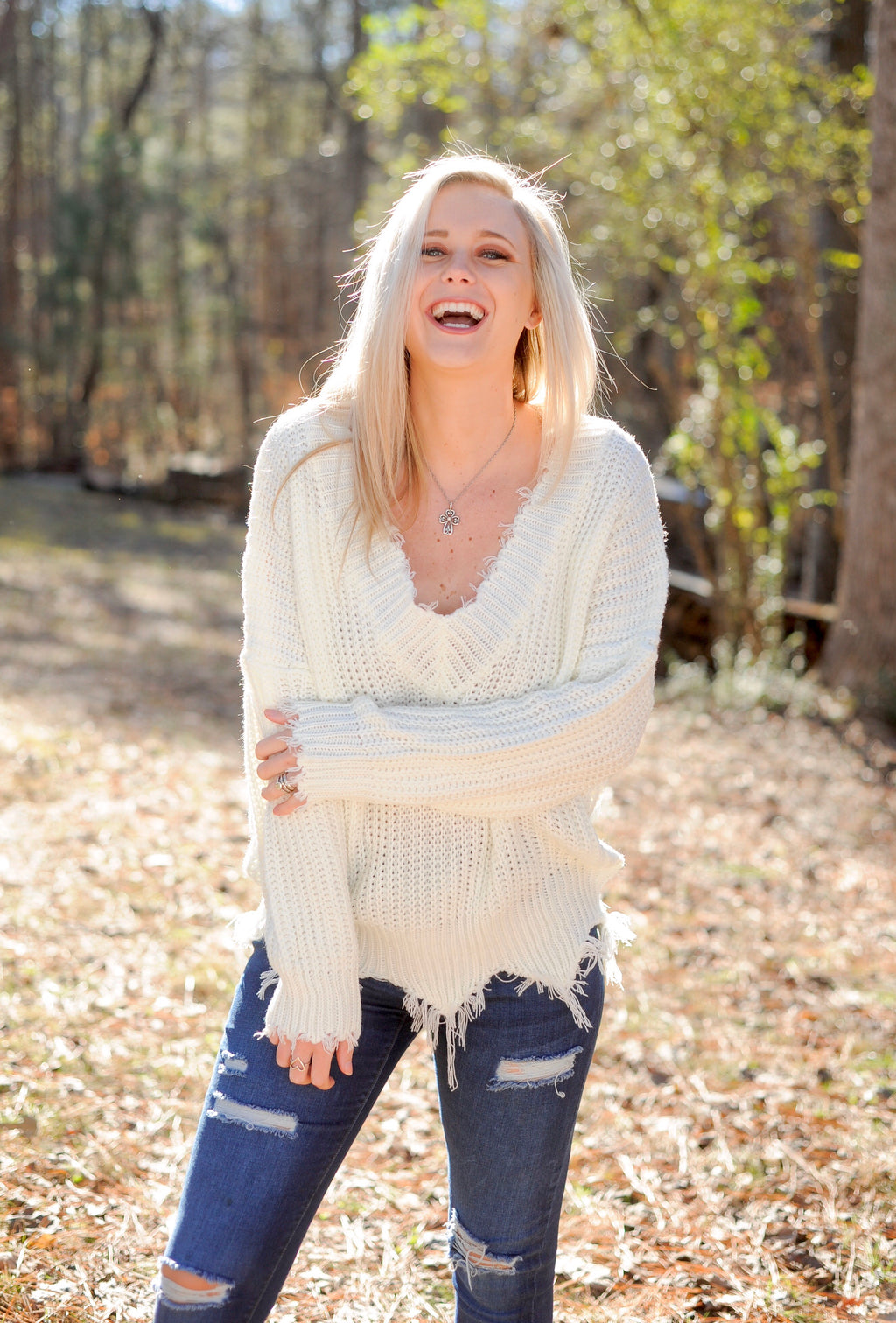 Frayed V Neck Sweater- Off White
