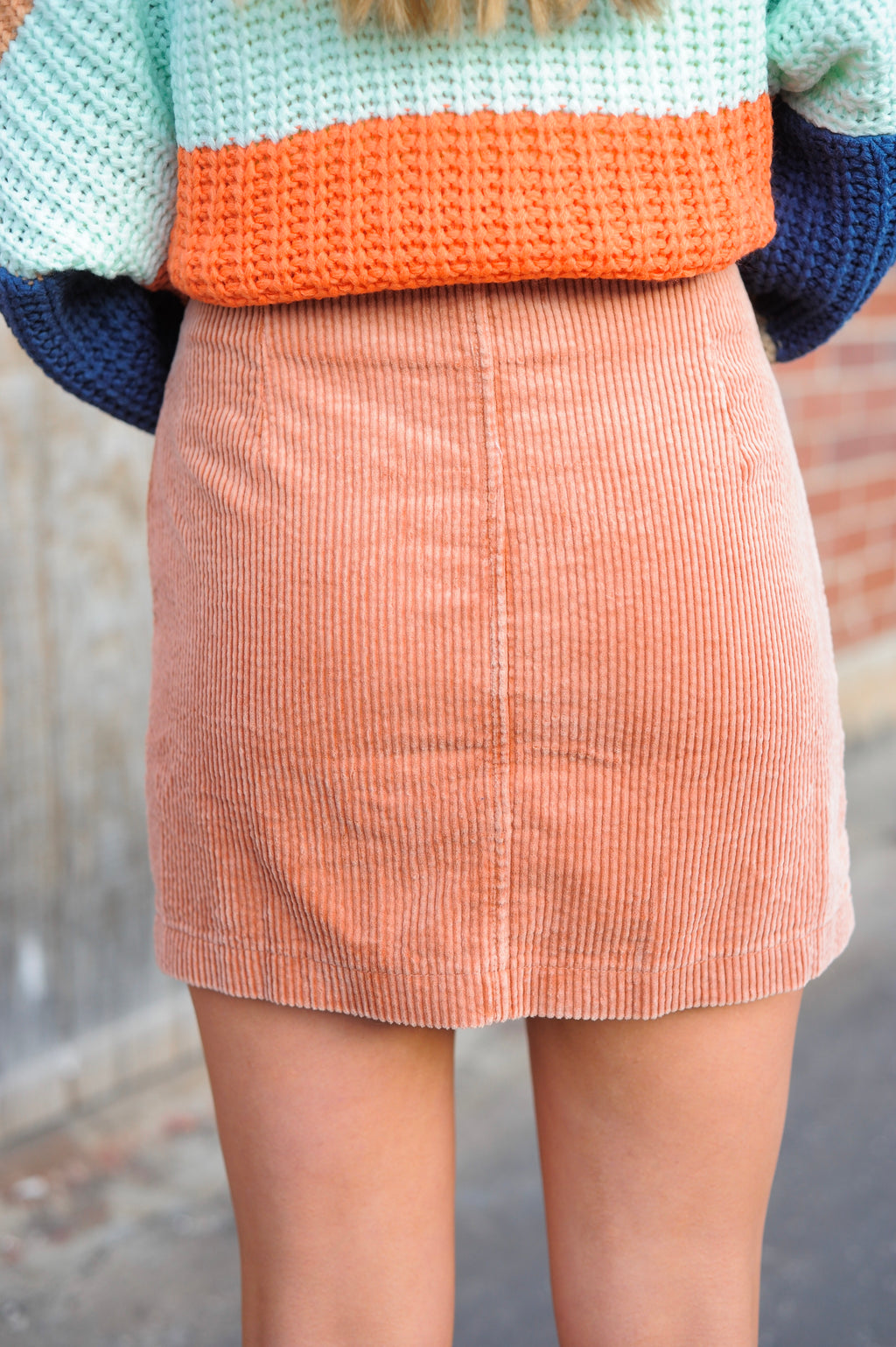 Corduroy Double Pocket Skirt- Coral
