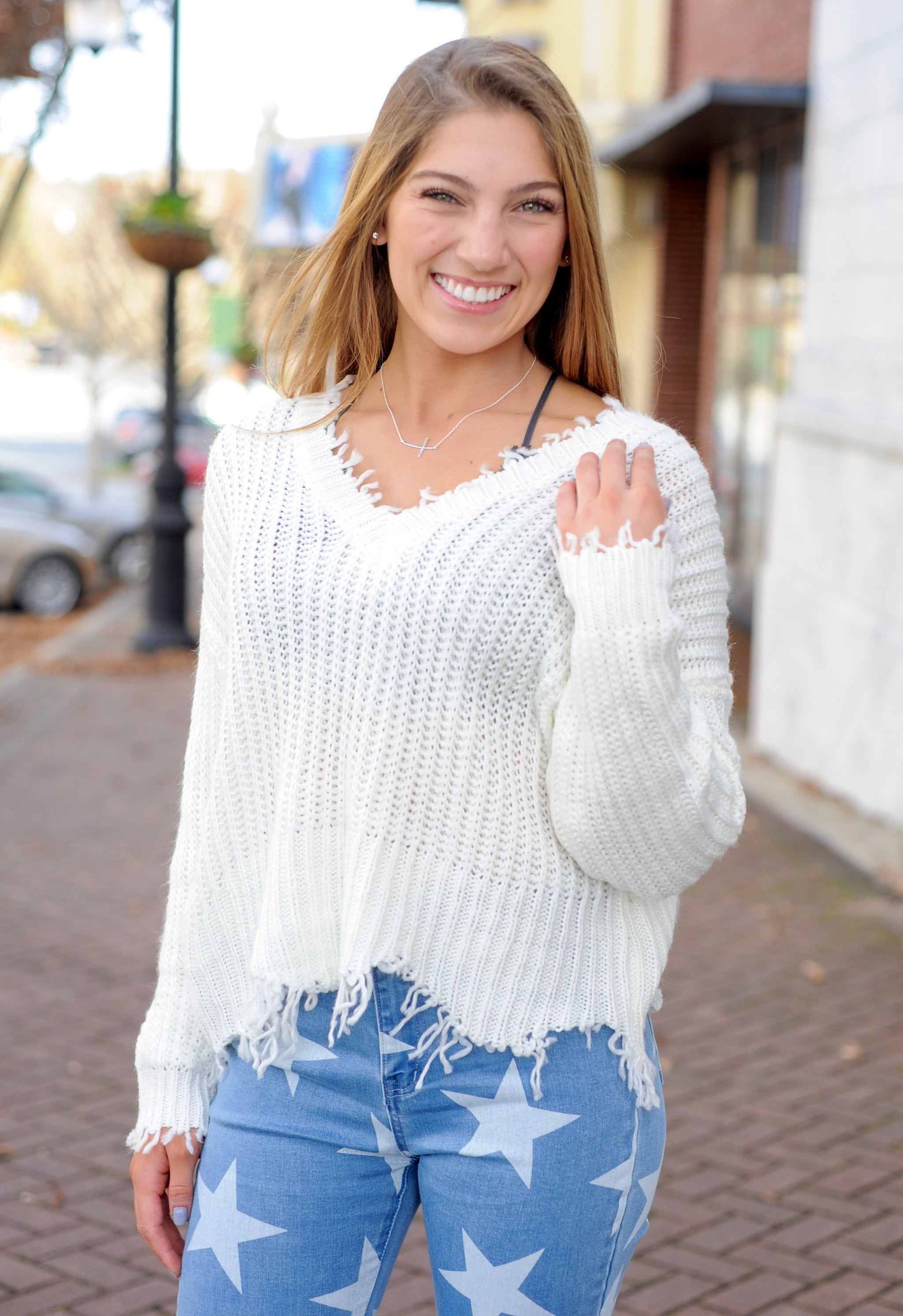 Charlie Distressed Sweater - Ivory