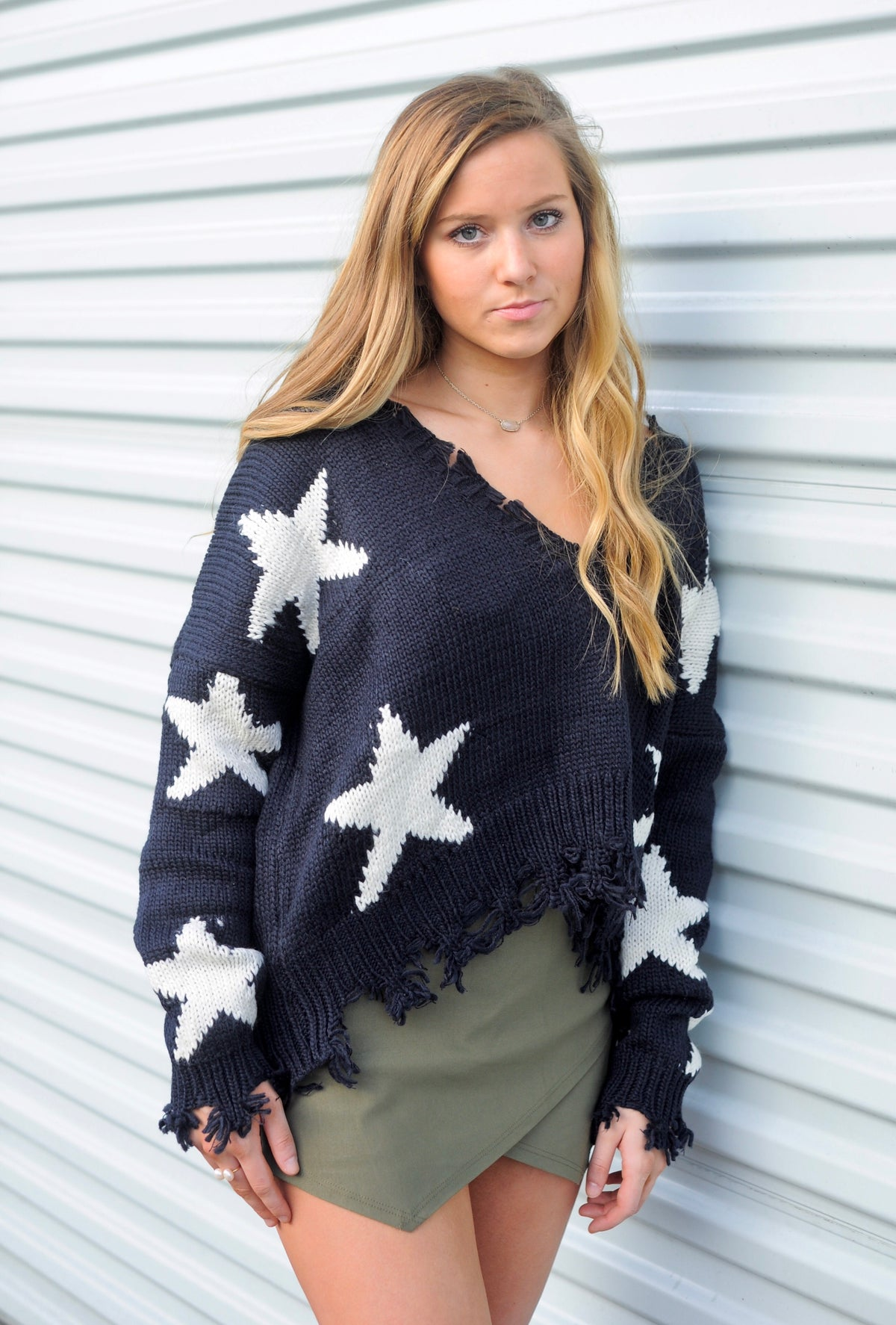 Distressed Star Print Sweater