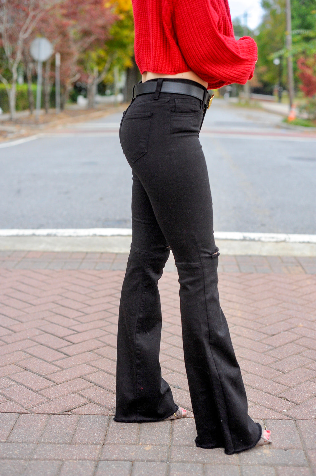 Black Denim Flare Jeans