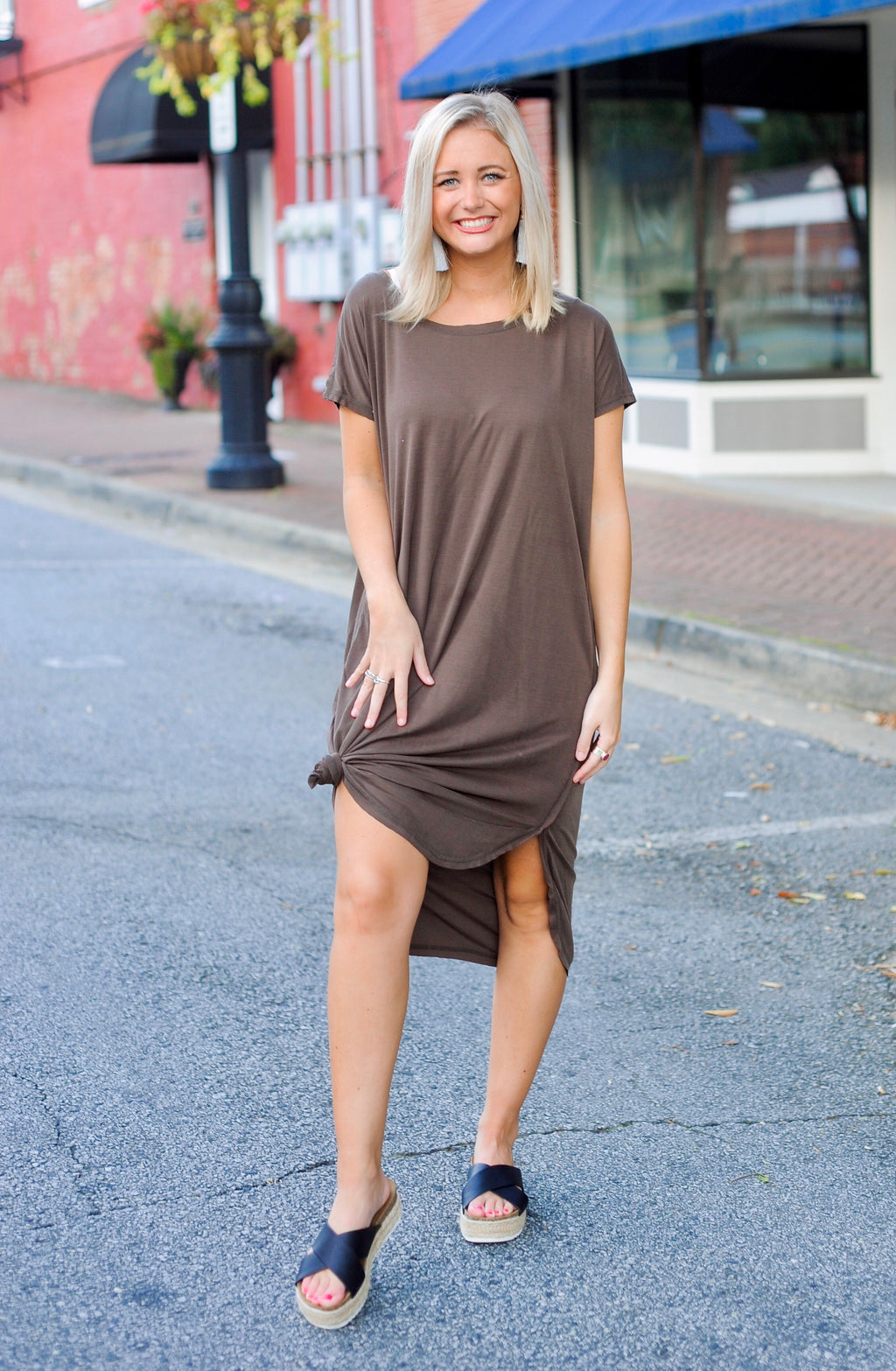 Midi Raw Edge Hem Dress