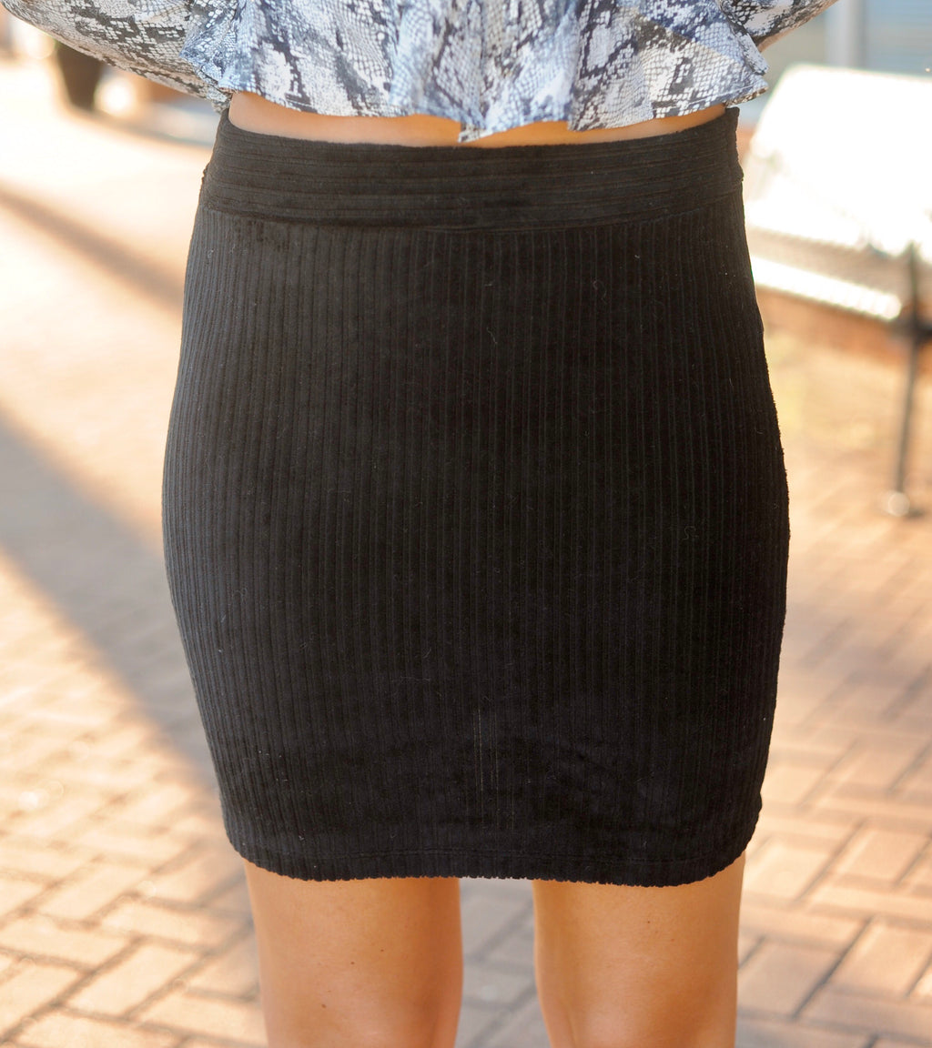 Simple Corduroy Skirt - Black