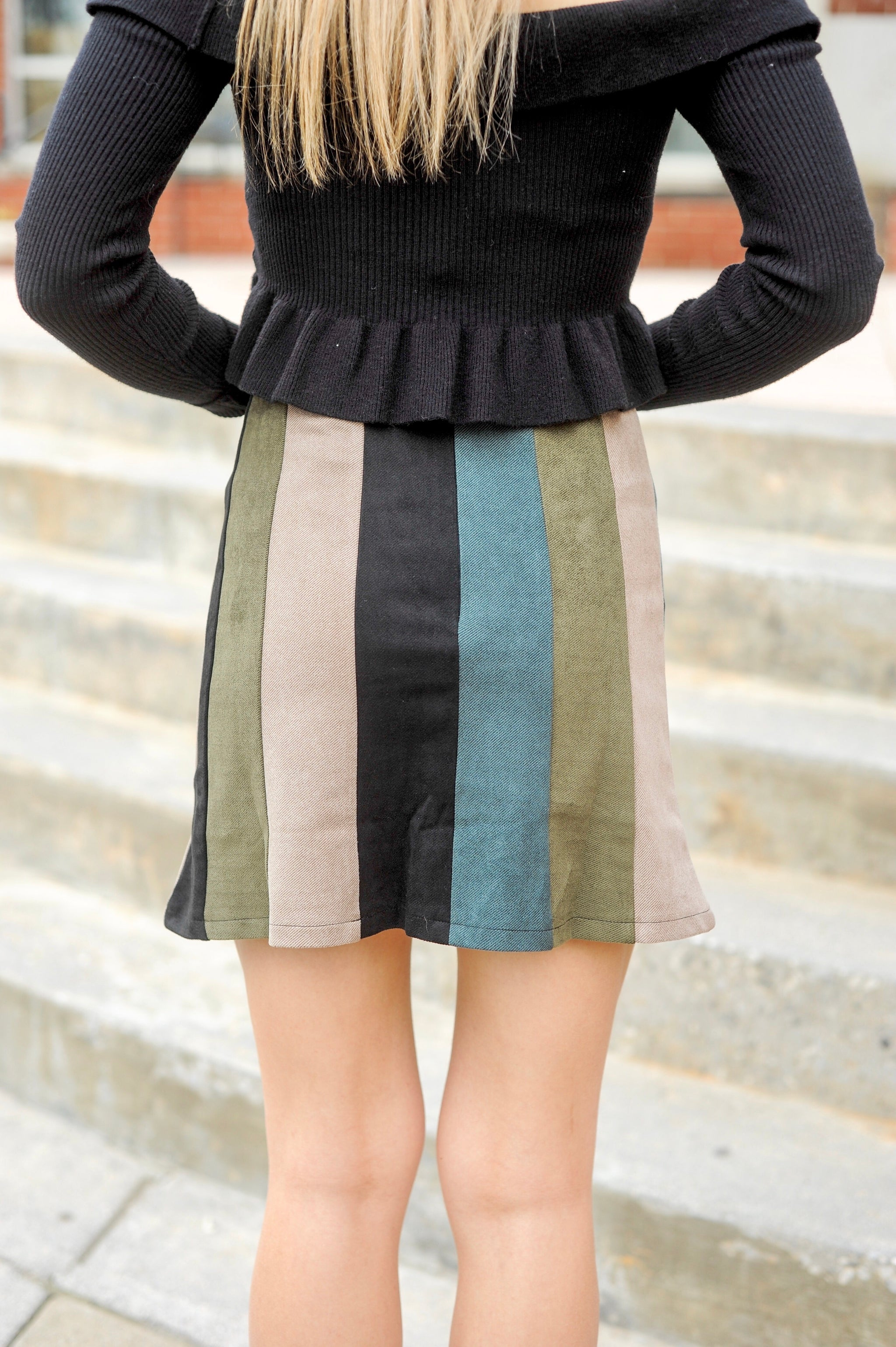 Olive Striped Sueded Skirt