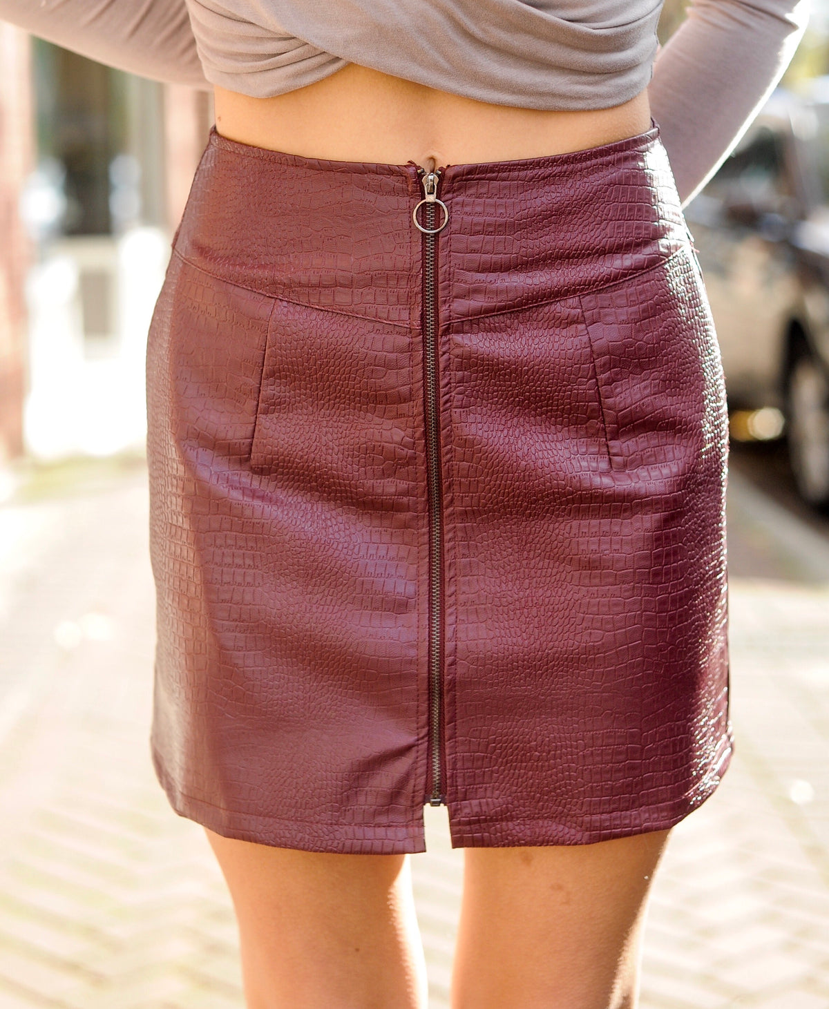 Wine Snakeskin Leather Skirt