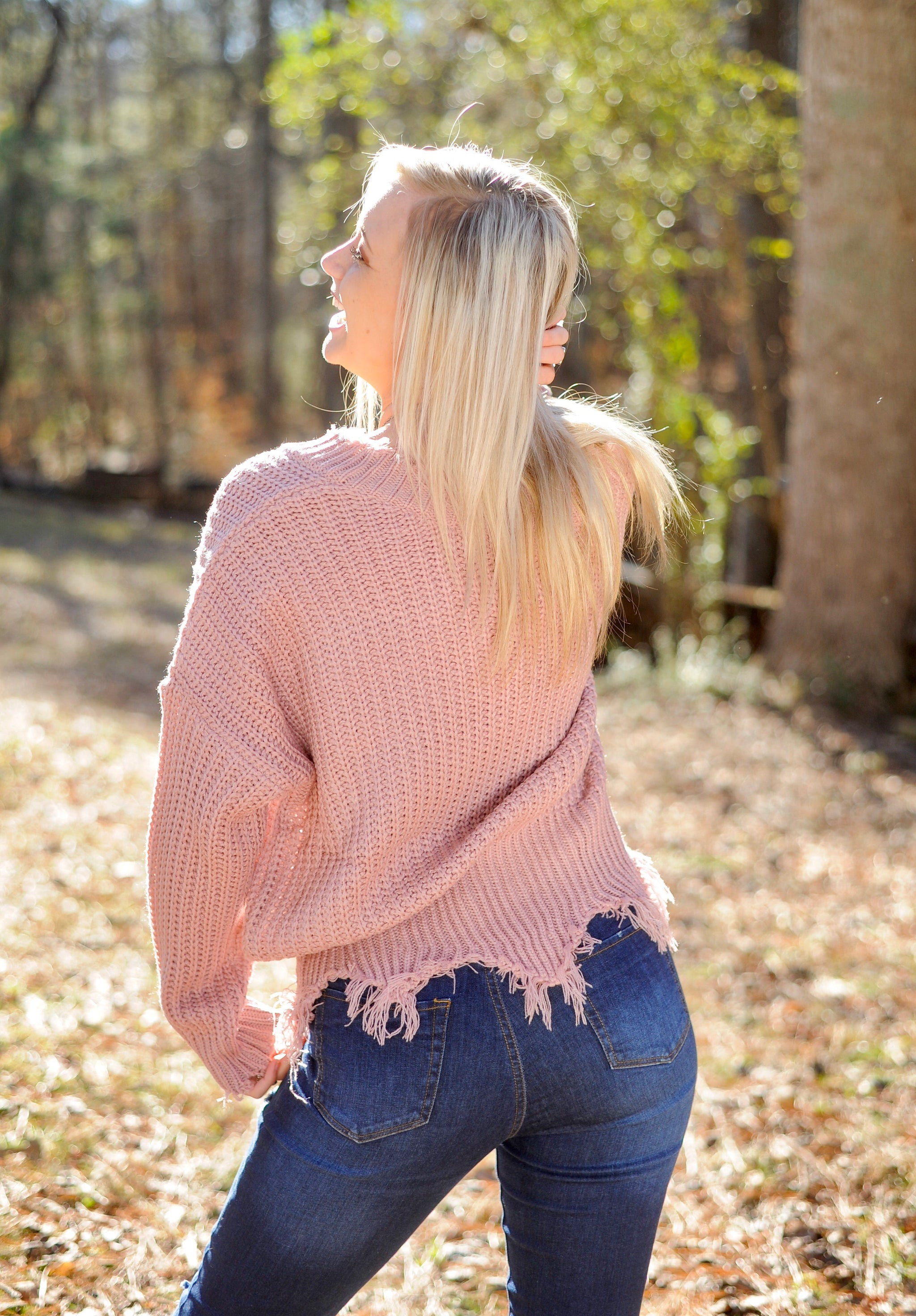 Frayed V Neck Sweater- Mauve