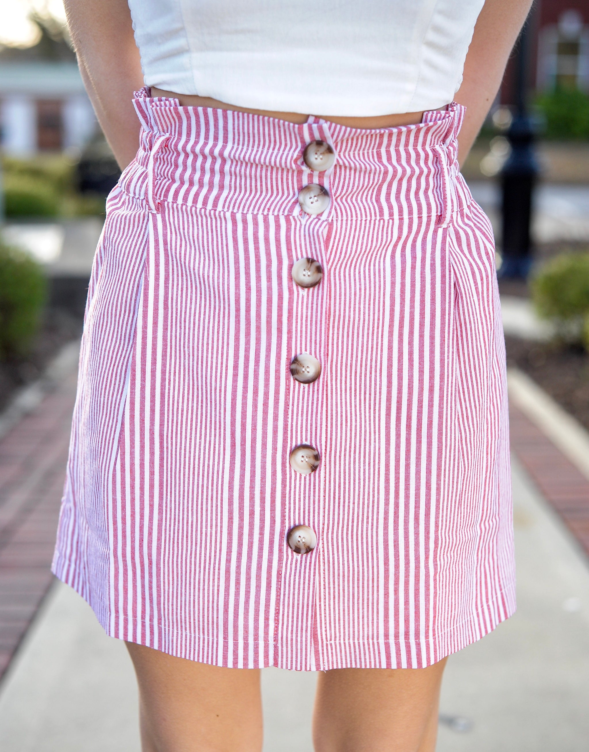 Red Stripe Button Skirt