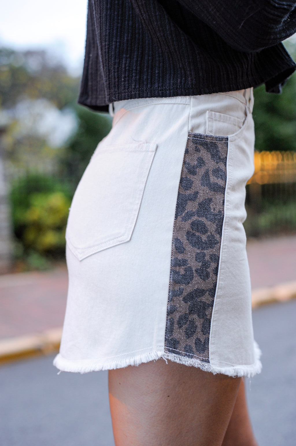 Leopard Side Denim Skirt