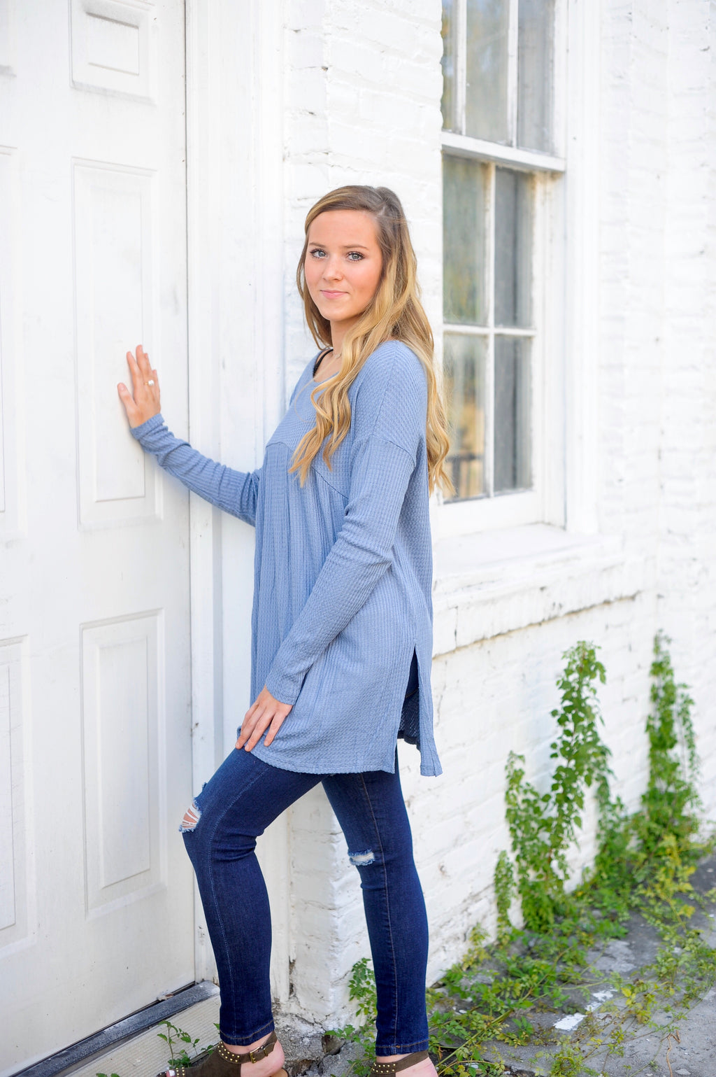 Waffle Knit Side Slit Tunic Top
