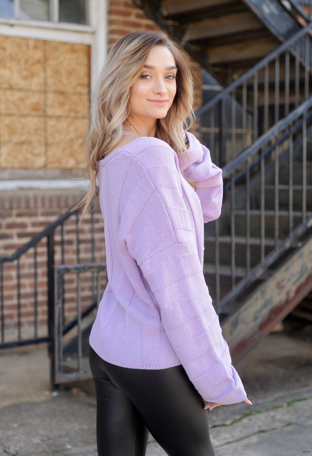 Lavender Wide Sleeve Cropped Sweater