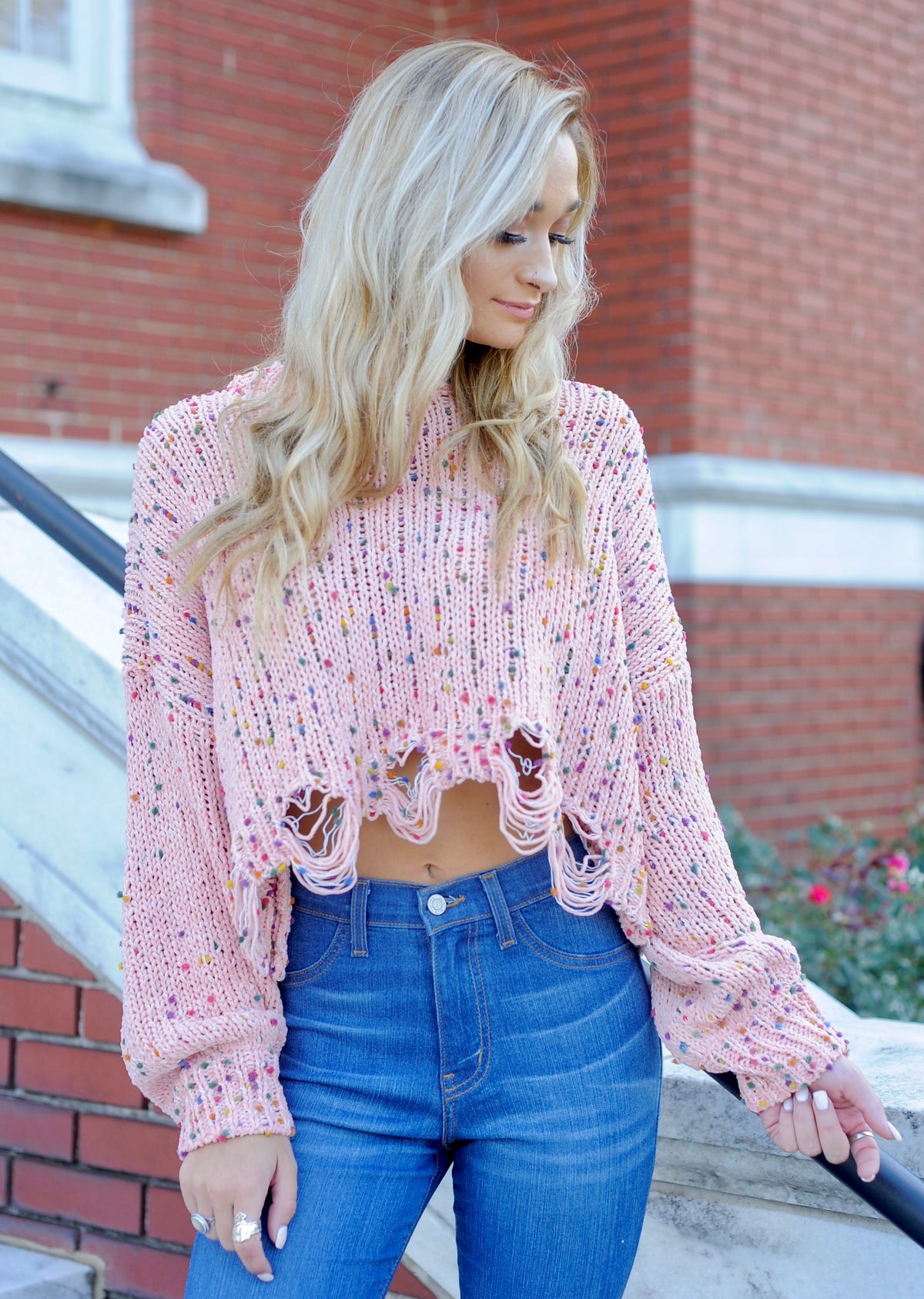 Confetti Distressed Sweater- Pink