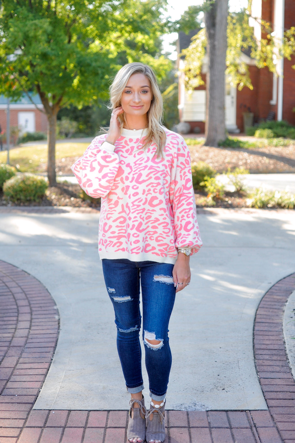 Leopard Printed Sweater - Pink