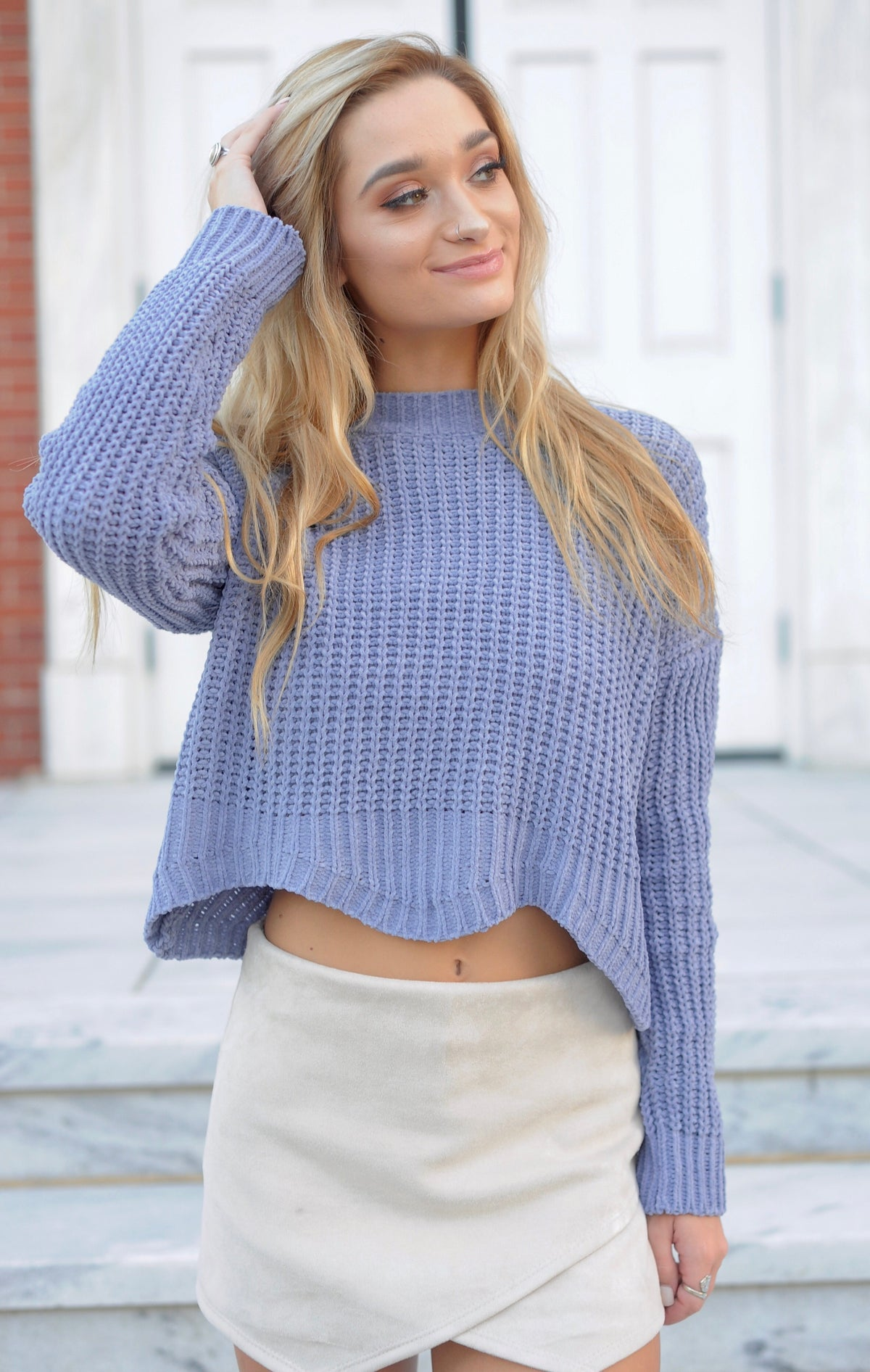 Scallop Edge Knit Sweater- Blue