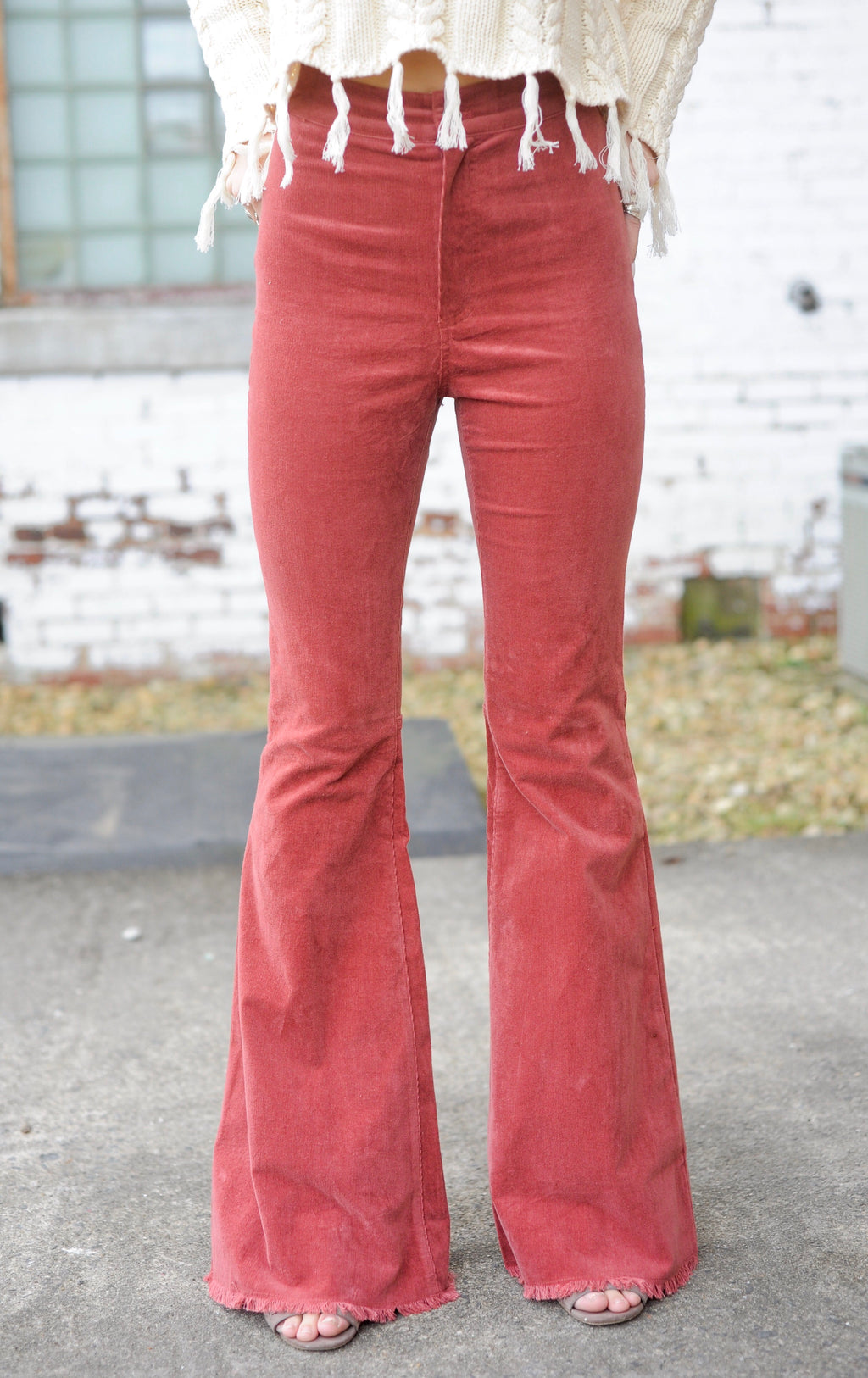 Burnt Rose Corduroy Bell Bottom Jeans