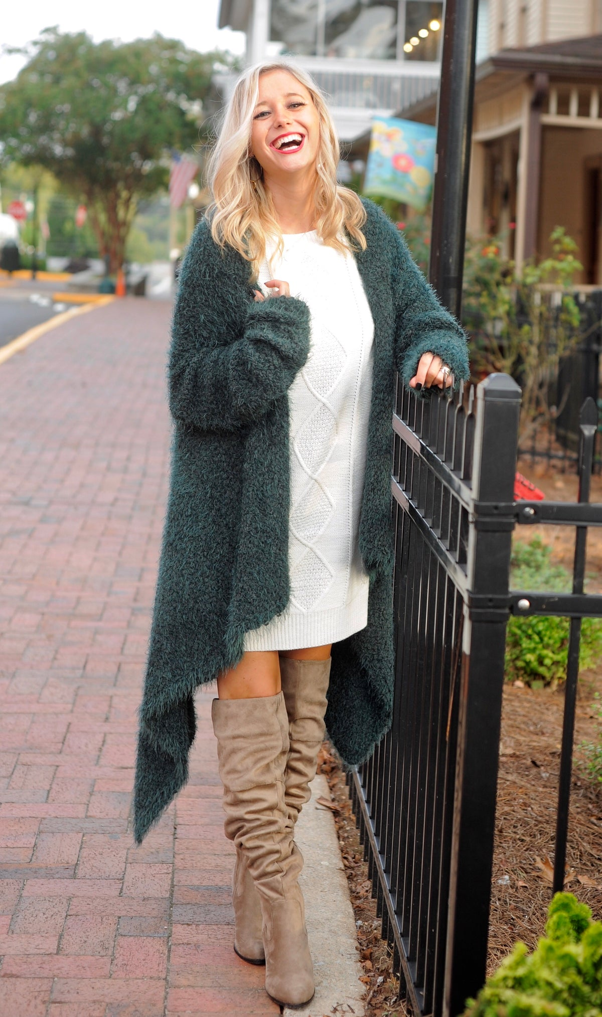 Forest Green Popcorn Cardigan