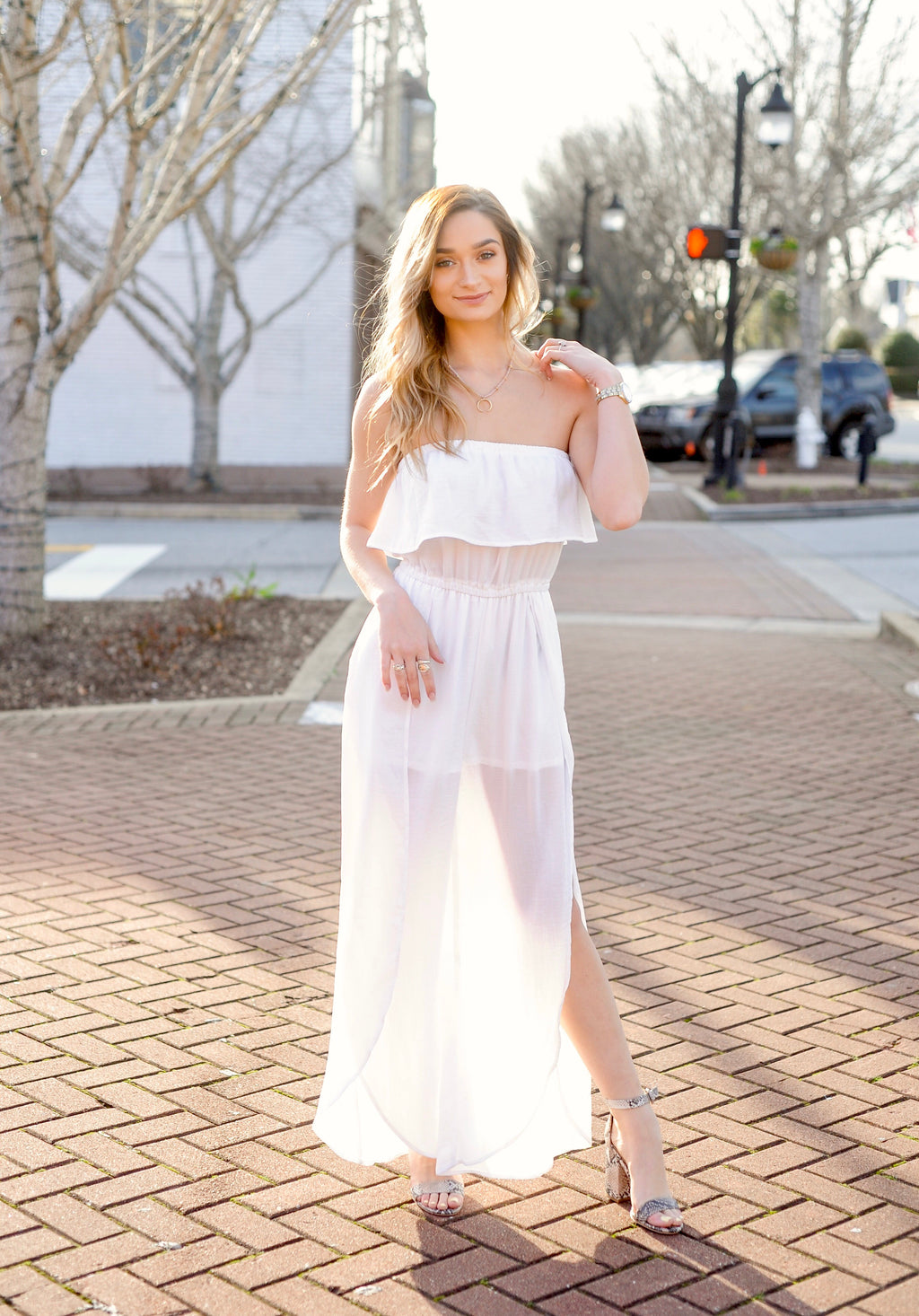 Strapless Side Slit Jumpsuit - White