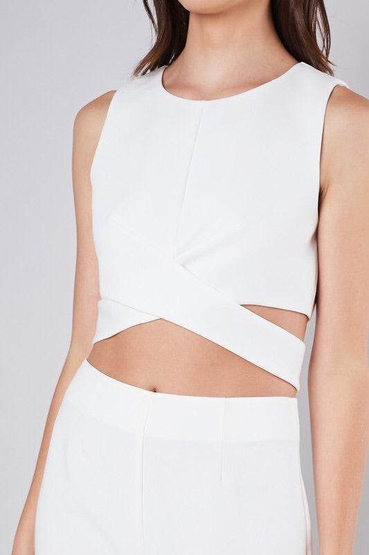 Criss Cross Side Slit Crop Top