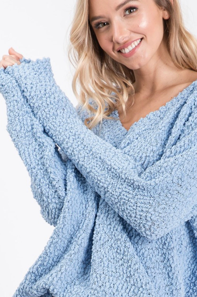 Dust Denim V Neck Popcorn Sweater