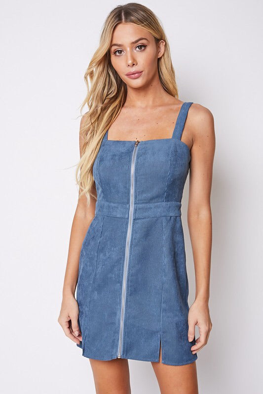 Slate Blue Corduroy Mini Dress