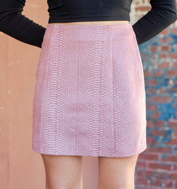 Sueded Snakeskin Skirt - Mauve