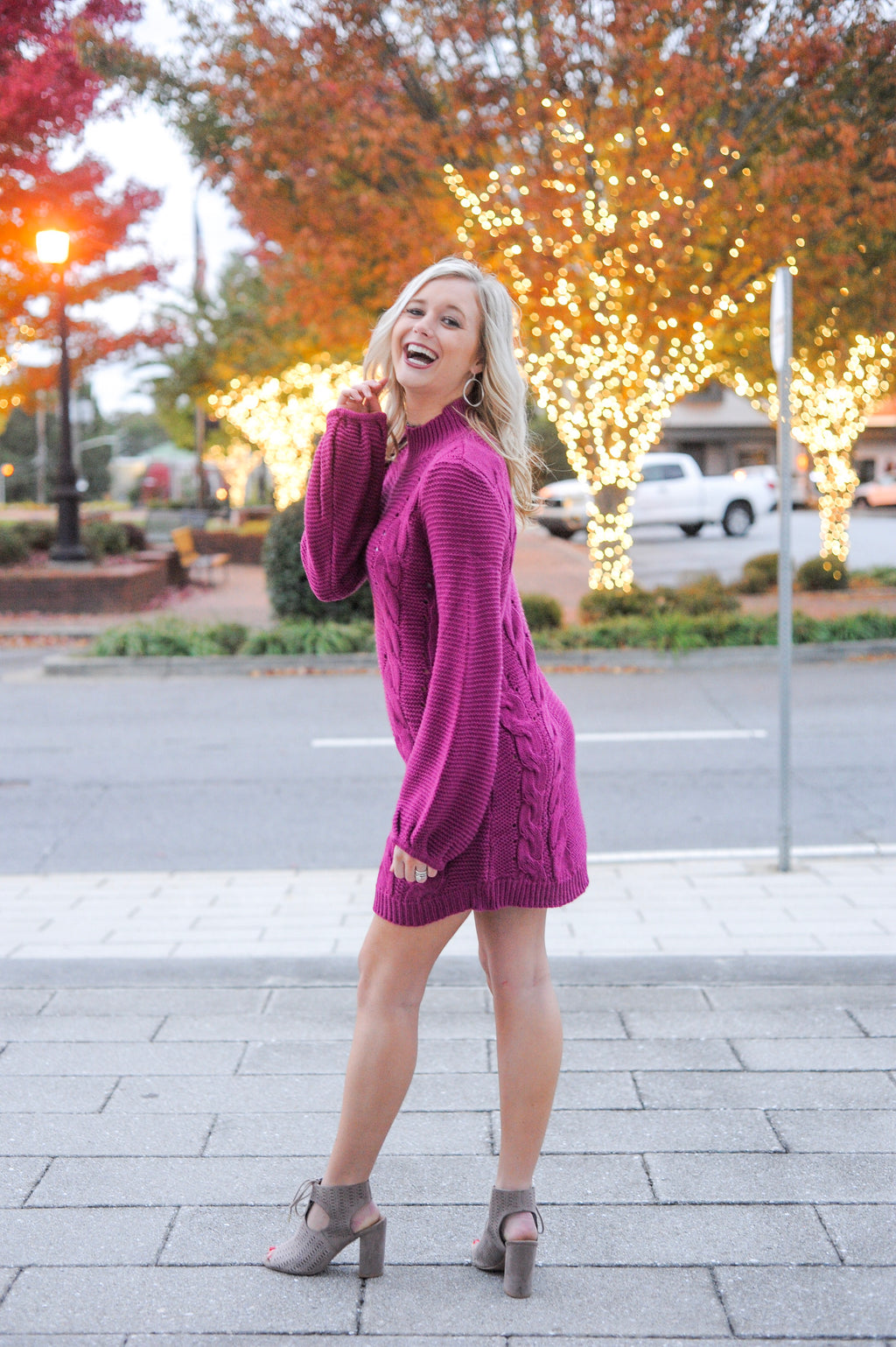 Magenta Cable Knit Sweater Dress