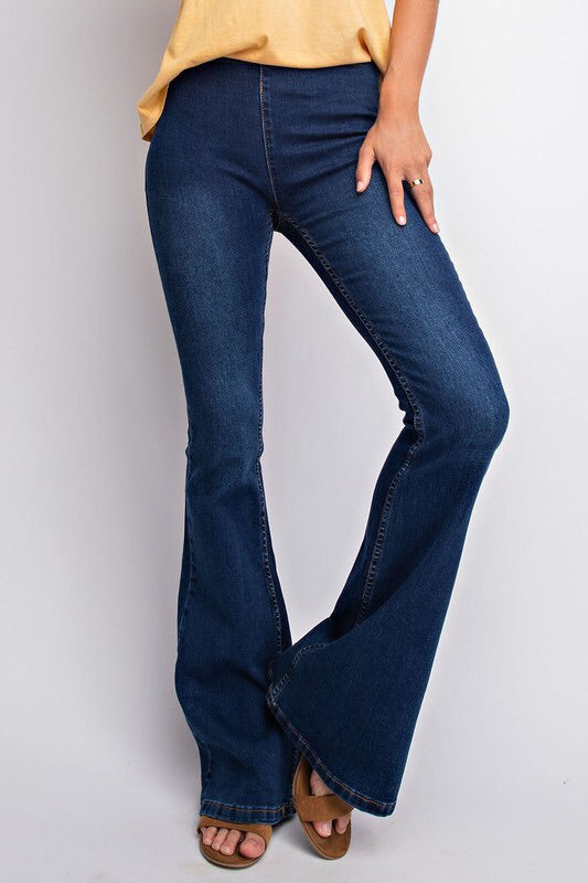 Basic Denim Flare Jeans - Dark Wash
