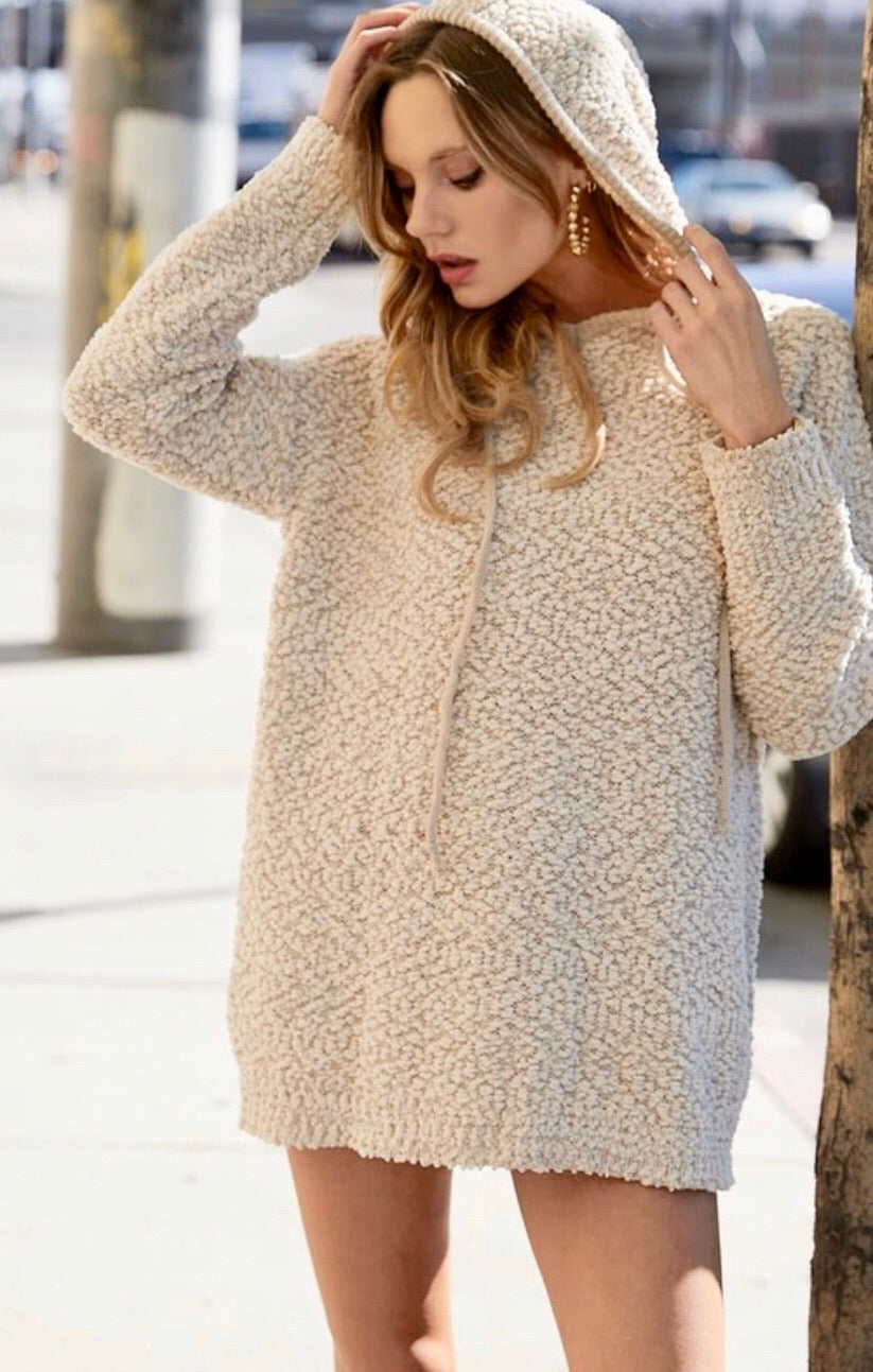 Popcorn Hooded Pullover - Taupe